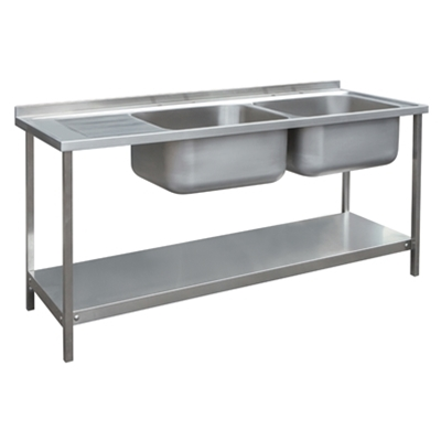 Commercial Sink Unit - 1800 x 650 Double Bowl, Single LH Drainer