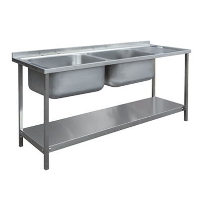 Commercial Sink Unit - 1800 x 650 Double Bowl, Single RH Drainer