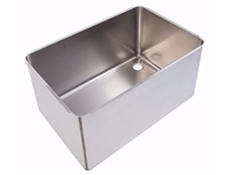 Pot wash sink bowl - Left hand - 760 x 500 x 370mm - Stainless steel strainer & chrome waste