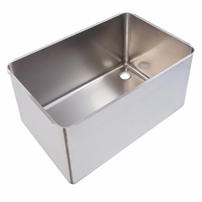 Pot wash sink bowl - Left hand - 760 x 500 x 370mm - Stainless steel strainer & waste