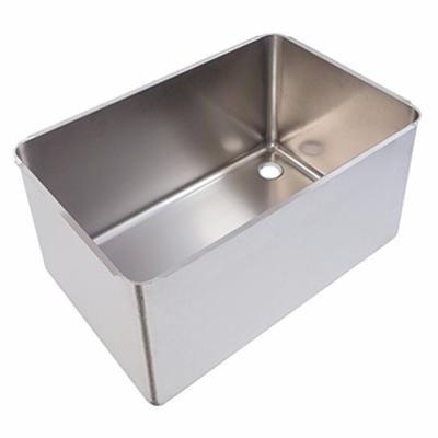 Pot wash sink bowl - Right hand - 760 x 500 x 370mm - Stainless steel strainer & chrome waste - Die Pat
