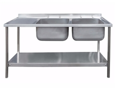 Commercial Sink Unit - 1500 x 600 Double Bowl, Single LH Drainer (2 x 400 x 400 bowls)
