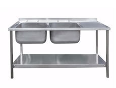 Commercial Sink Unit - 1500 x 600 Double Bowl, Single RH Drainer (2 x 400 x 400 bowls)