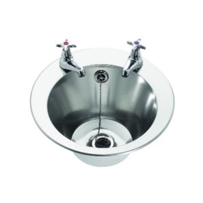Wash Hand Basin - Inset - 290 dia x 160 c/w studs for insetting - 2 tap holes - Die Pat
