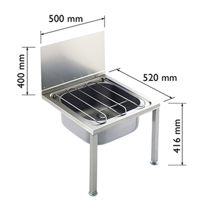 Floor Standing Bucket Sink - Stainless Steel - Die Pat